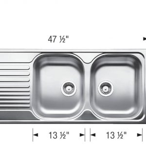 Blanco 401654 Tipo 8 S Drop-in Kitchen Sink Technical Drawing