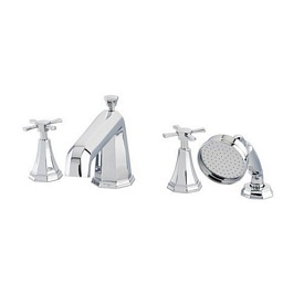 """Perrin& Rowe - Four hole bath shower mixer with 9 """" spout - 3148-3149"""