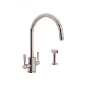 "PERRIN & ROWE® CONTEMPORARY SINGLE HOLE ""C"" SPOUT KITCHEN FAUCET WITH ROUND BODY AND SIDESPRAY #U.4312"