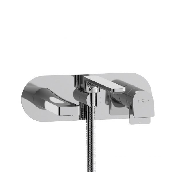Riobel OD21C ODE Wall-Mount Tub Filler With Hand Shower In Chrome