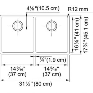 Franke CUX120-CA Cube Undermount Stainless Steel Kitchen Sink Technical Drawing