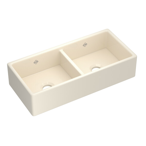 ROHL Shaws MS3918PCT Shaker Apron Front Fireclay Sink In Parchment