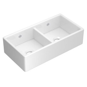 ROHL Shaws MS3518WH Shaker Double Bowl Sink In White