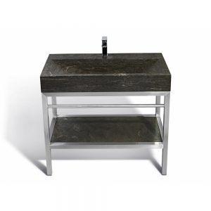 "Unik Stone VNM-003 + LPG-014 - 39"" Stone and steel bathroom vanity unit"