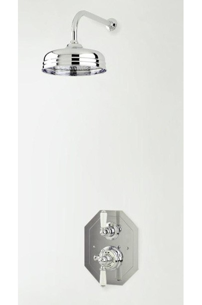 """Perrin and Rowe - Traditional Thermostatic Mixer with 8"""" Shower Rose"""