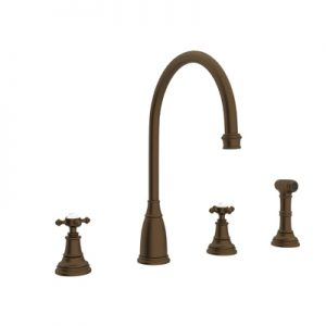 PERRIN & ROWE® 4-HOLE C-SPOUT KITCHEN FAUCET WITH SIDESPRAY # U.4735