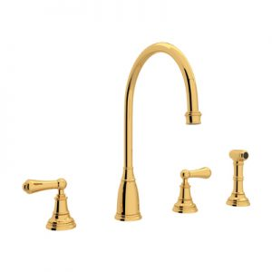 PERRIN & ROWE® 4-HOLE C-SPOUT KITCHEN FAUCET WITH SIDESPRAY # U.4736