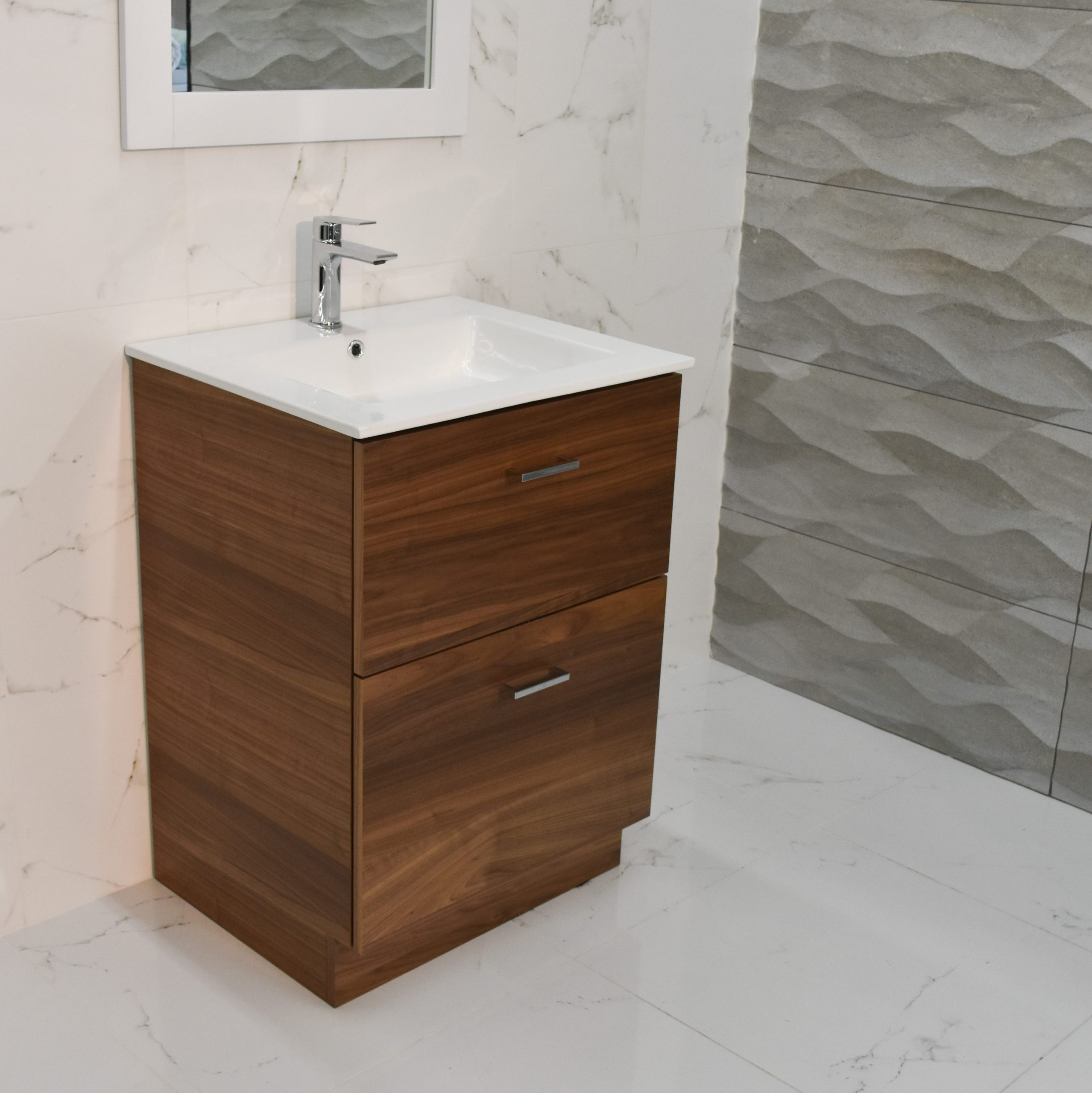 Bliss 24 Walnut Vanity Washroom And Powderroom Mirror
