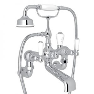 ROHL - PERRIN & ROWE® EDWARDIAN EXPOSED WALL MOUNT TUB FILLER WITH HANDSHOWER - #U.3510