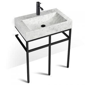 Unik Stone VBT-030 + LMS-030 – 30″ Marble and black steel bathroom vanity unit