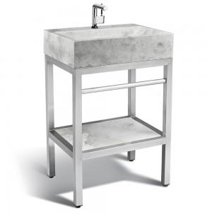 VMS-024 + LMS-24 Marble and steel bathroom vanity