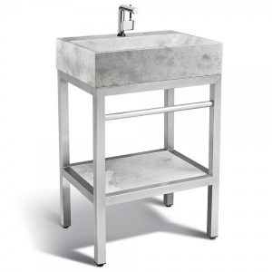 VMS-024 + LMS-24 Marble and steel bathroom vanity