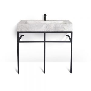 "VBT-039 + LMS-039 - 39"" marble and black steel bathroom vanity unit"
