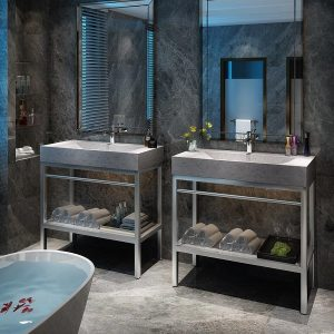 "VMS-039 + LMS-039 - 39"" Marble and steel bathroom vanity unit"