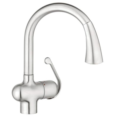 Grohe 33755SD1 Ladylux Dual Spray Pull Out Kitchen Faucet