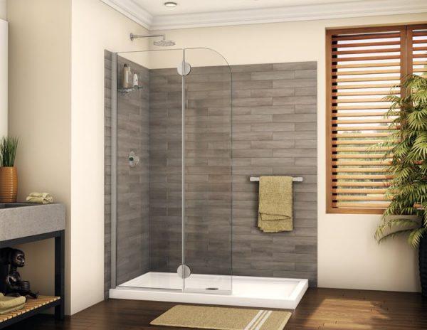 """Fleurco Monaco Round Top Shower Shield With Fixed Panel, 79"""" H Shower Door"""