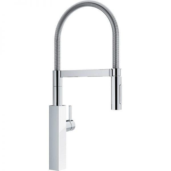 Franke Crystal FFPD4600 Single Hole Kitchen Faucet chrome white glass