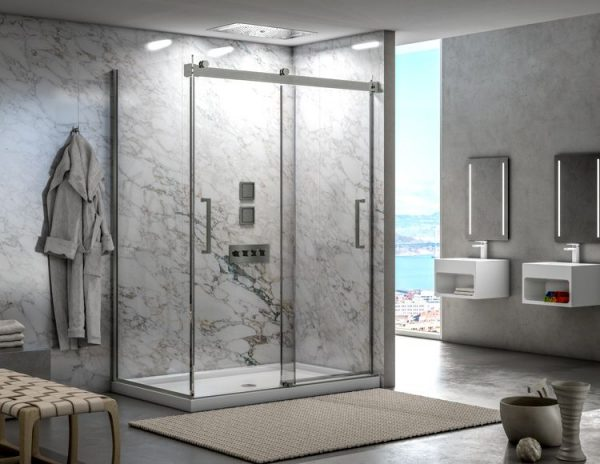 Fleurco Mercury 2 Sided Bypass Shower Doors Brushed Nickel