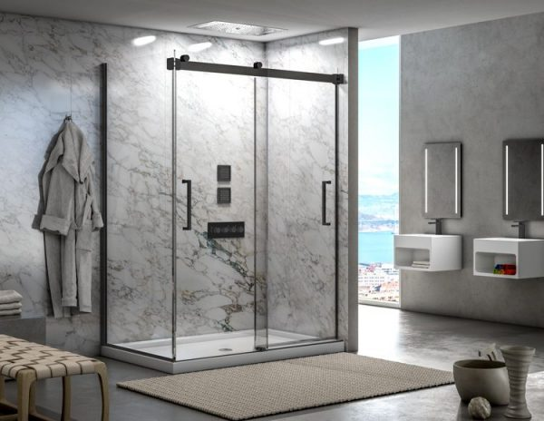 Fleurco Mercury 2 Sided Bypass Shower Doors Matte Black