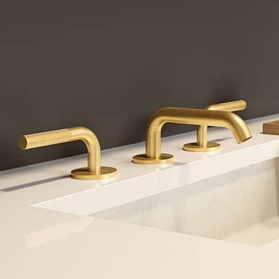 Aquabrass MB210 Widespread Lavatory Faucet Brushed Gold