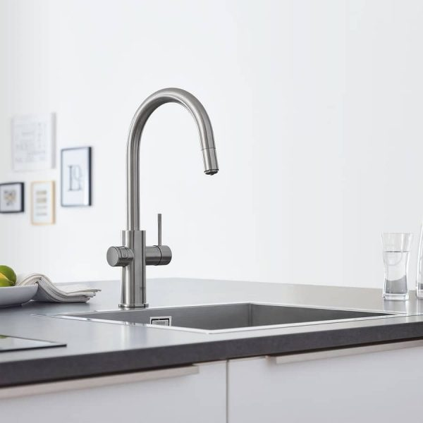 Grohe 31251DC2 Blue Kitchen Faucet Chilled & Sparkling Water SuperSteel Finish