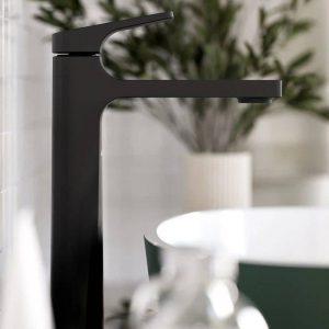 Riobel ODL01BK ODE Single Hole Tall Bathroom Faucet In Black