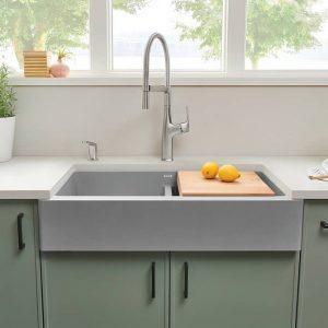 Blanco 402598 Vintera 33 Silgranit Apron Farmhouse Kitchen Sink In Concrete Grey